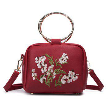 Metal Rings Floral Embroidered Handbag - RED RED