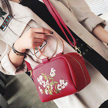 Metal Rings Floral Embroidered Handbag -  RED