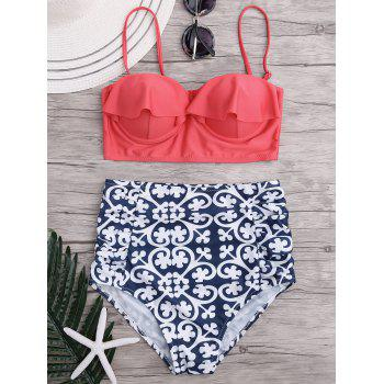 Paisley Ruffled High Waisted Bikini Set - COLORMIX XL