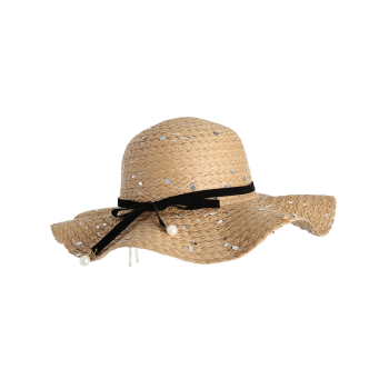 Sequin Straw Hat with Detachable Ribbon Bowknot - COFFEE