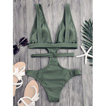 Plunging Neck Cut Out Bandage Swimwear - SAGE GREEN S