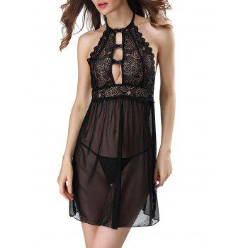 Lace Insert Backless Sheer Lingerie Sleep Dress