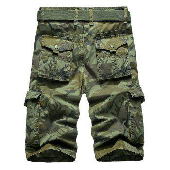 Zip Fly Camo Cargo Shorts with Pockets - GREEN 38