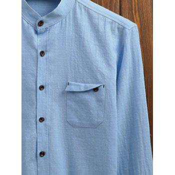 Stand Collar Pocket Long Sleeve Shirt - LIGHT BLUE 3XL