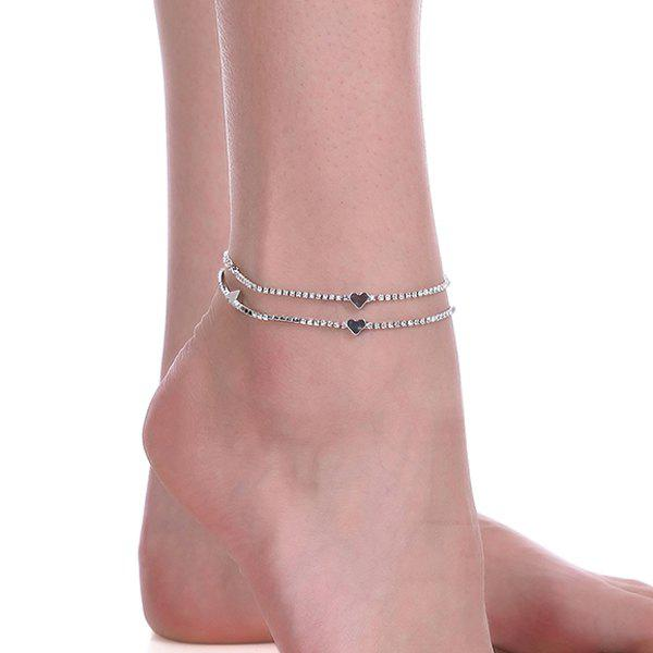 Rhinestoned Heart Chain Anklet - SILVER