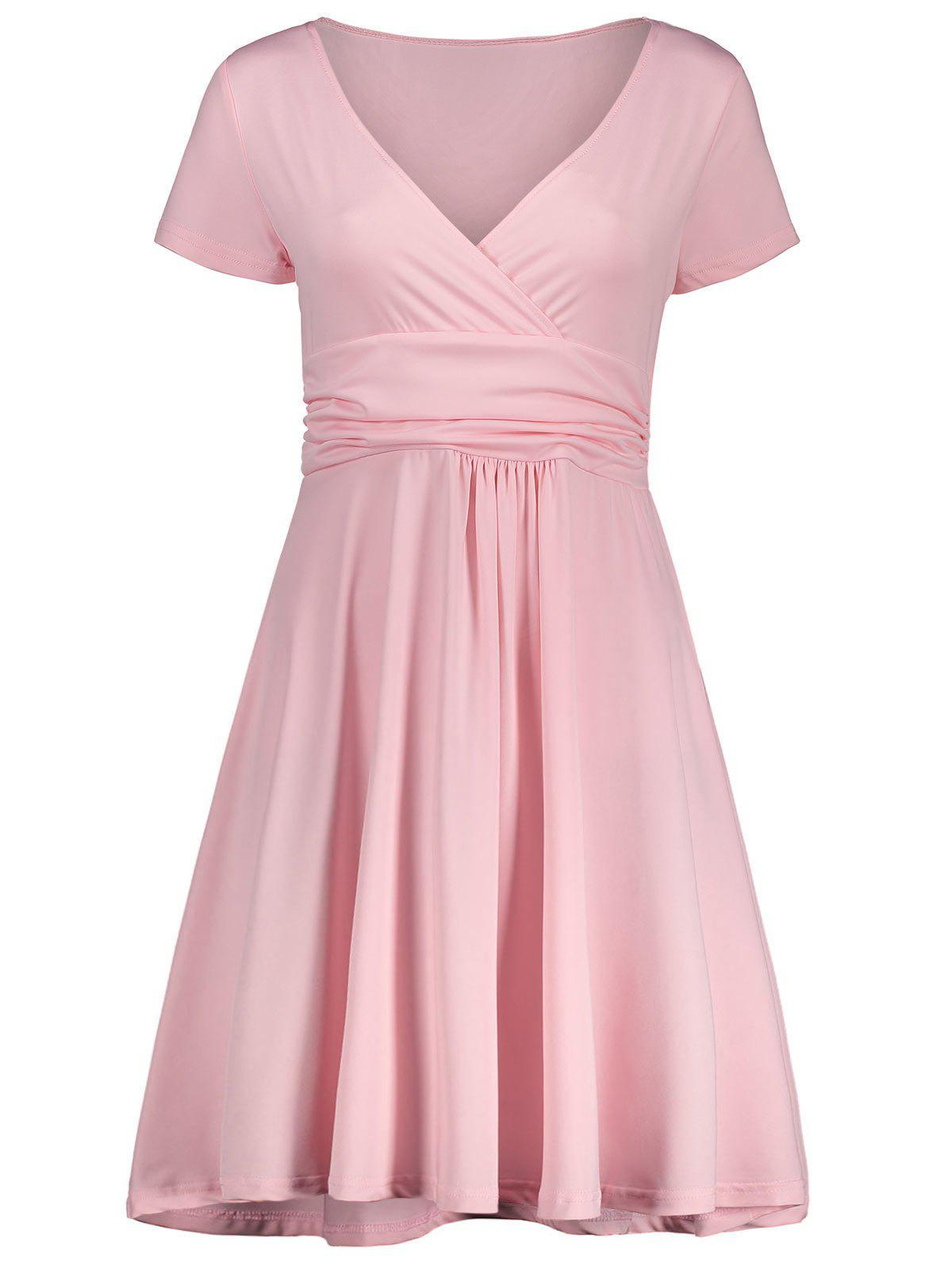 V Neck Work Mini Surplice Dress - PINK M