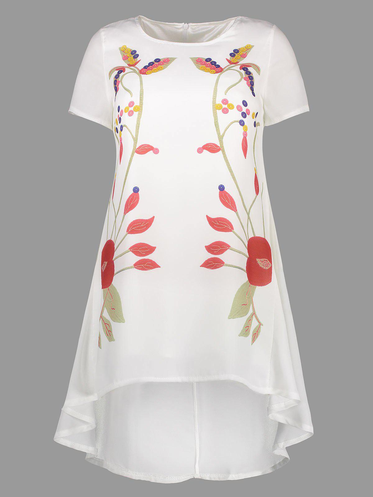 Printed Asymmetrical Chiffon Dress - WHITE XL