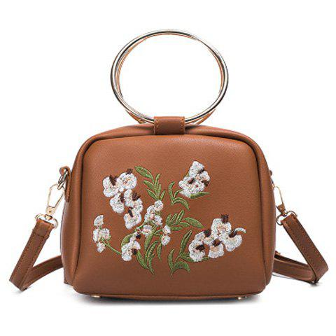 Metal Rings Floral Embroidered Handbag - BROWN