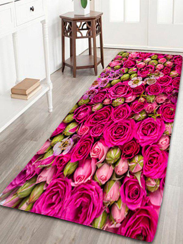 Wedding Water Absorption Flannel Bathroom Rug with Rose Print indian geometric pattern antiskid flannel water absorption bath mat