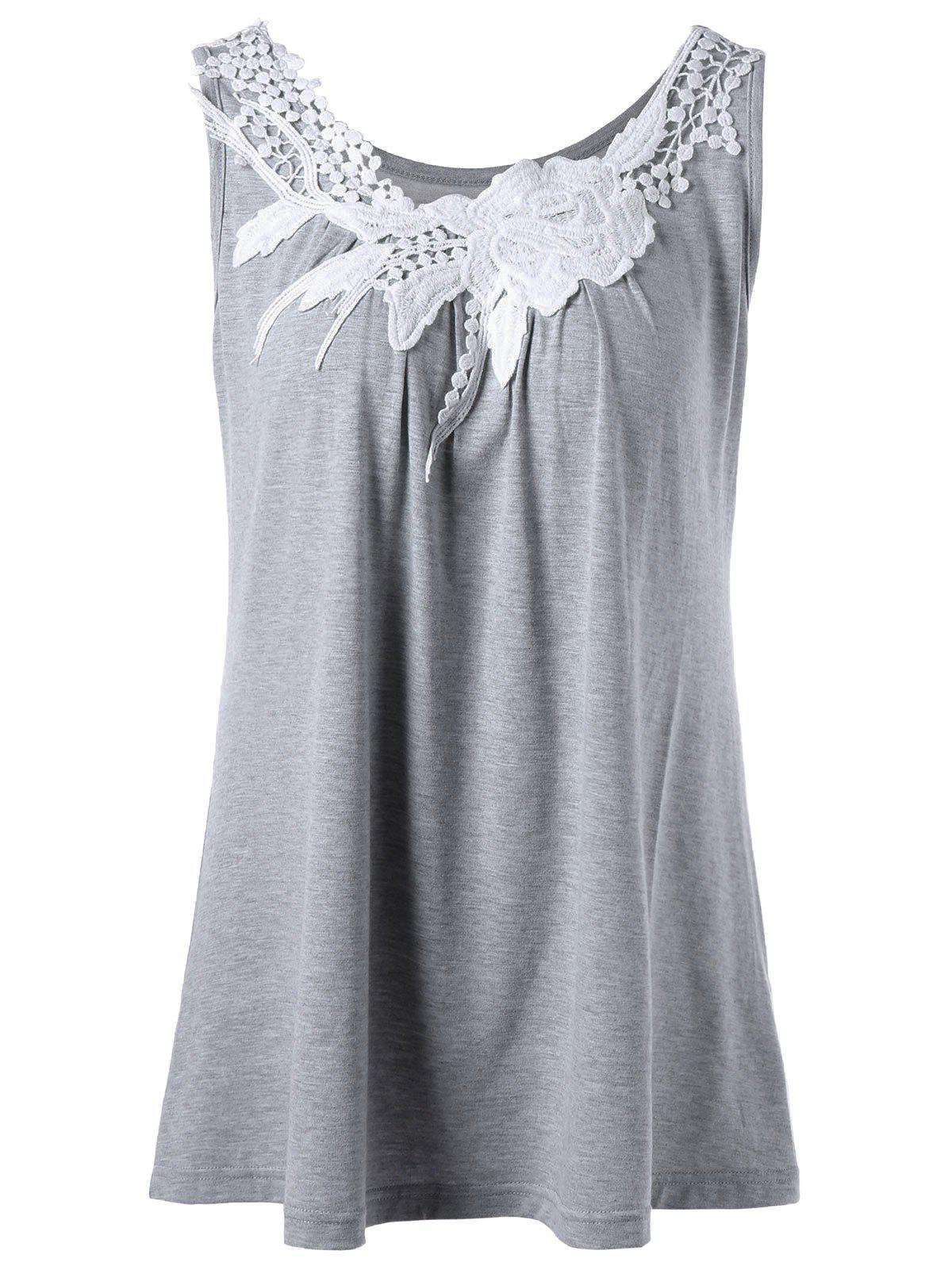 Floral Lace Insert Tank Top - GRAY 2XL