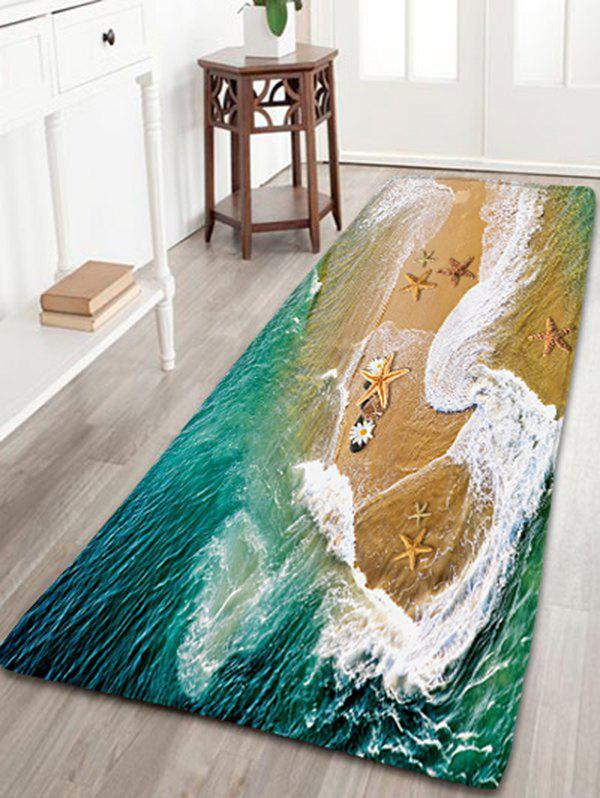 Flannel Antiskid Bathroom Rug with Sea Beach Print sea tide print antiskid flannel bathroom rug