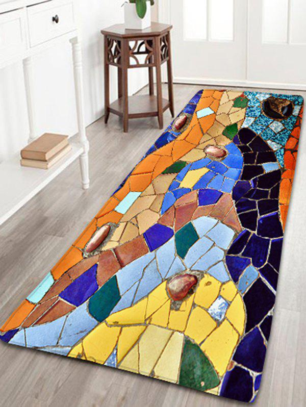 Colorful Mosaic Print Flannel Skidproof Bathroom Rug skidproof flannel bathroom rug with nightfall surfing print