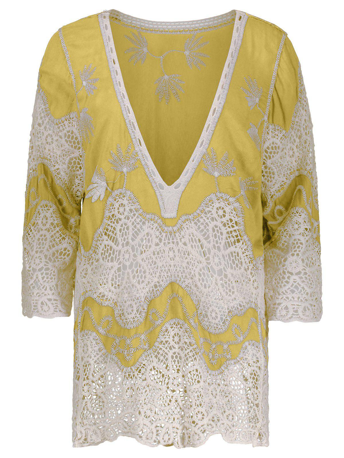 V Neck Crochet Cover Up Blouse - YELLOW ONE SIZE
