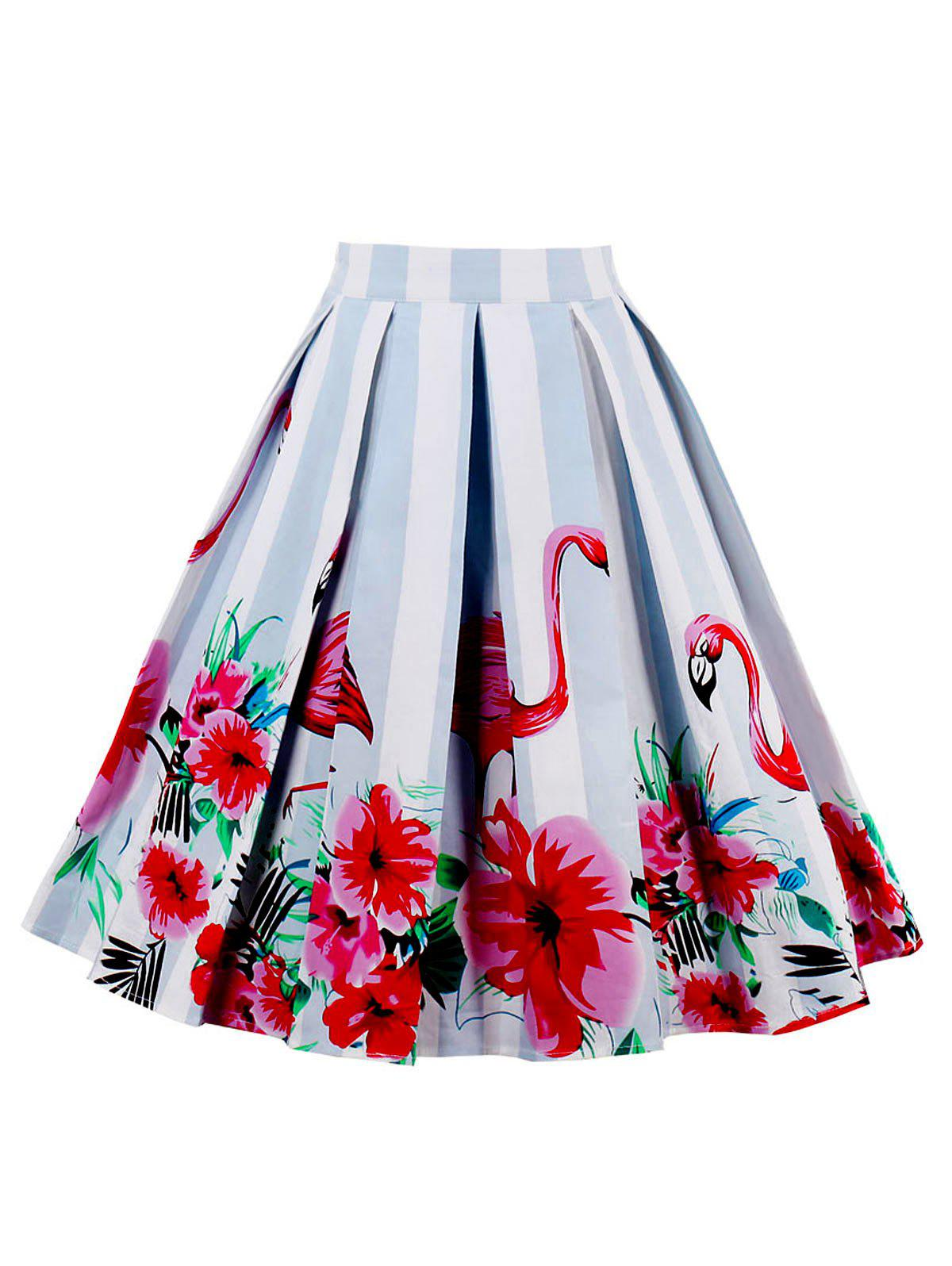 High Waist Animal Floral Print A Line Skirt - RED 2XL