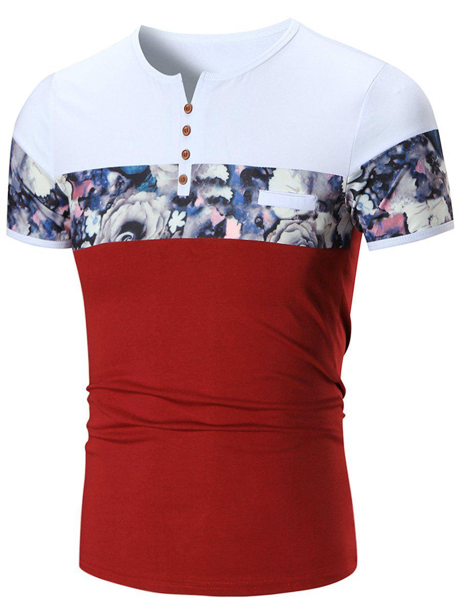 Notch Neck Floral Print Tee - RED 2XL