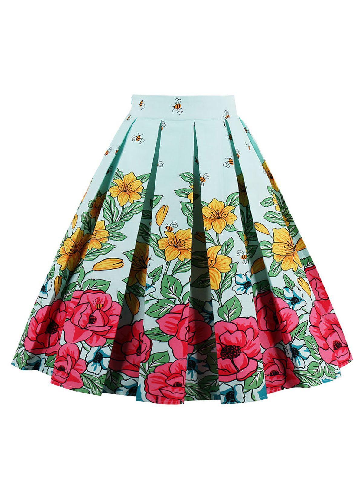 Bee Floral Print High Waist Skirt - GREEN S