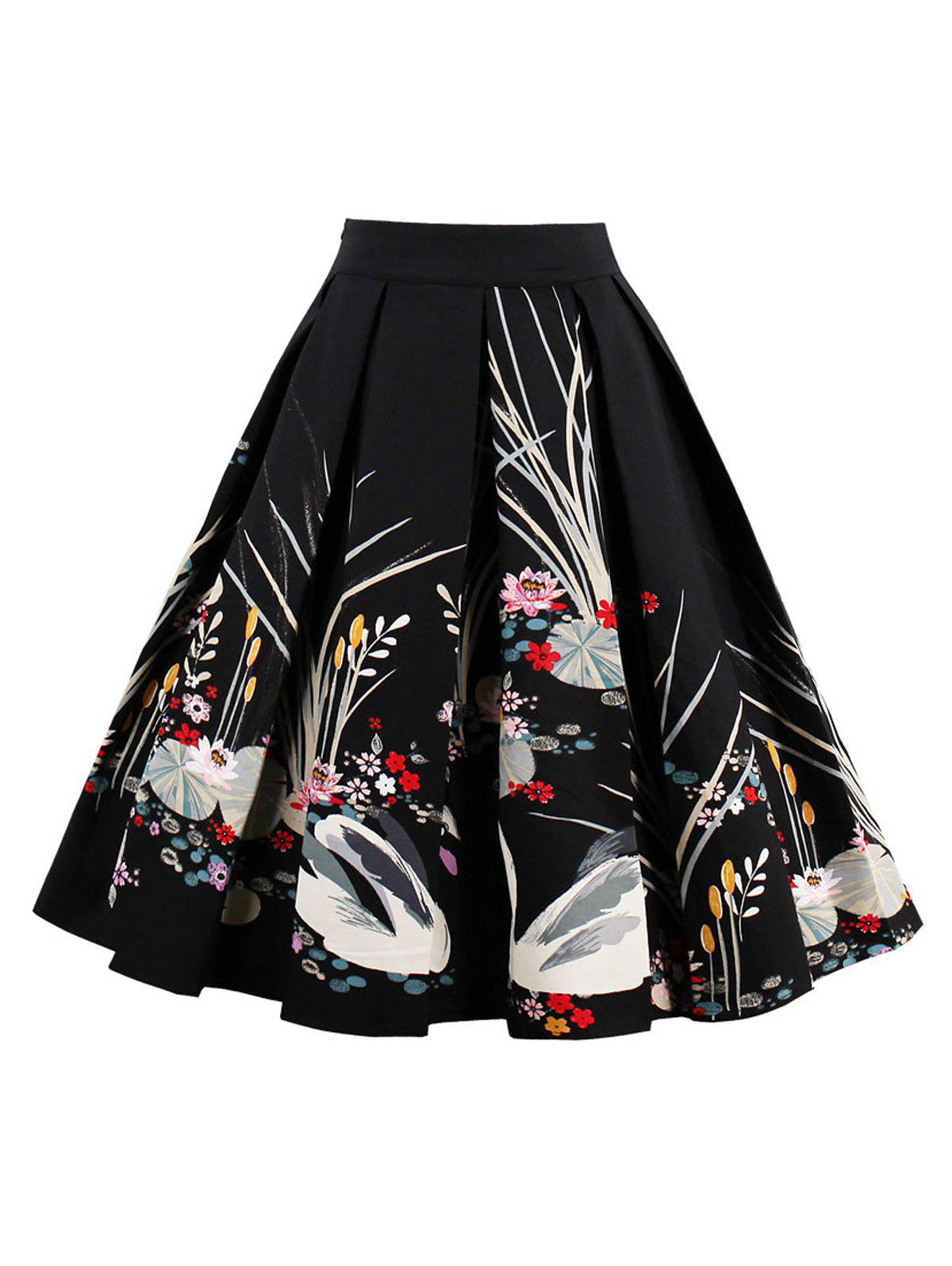 High Waist Swan Print A Line Dress - BLACK L
