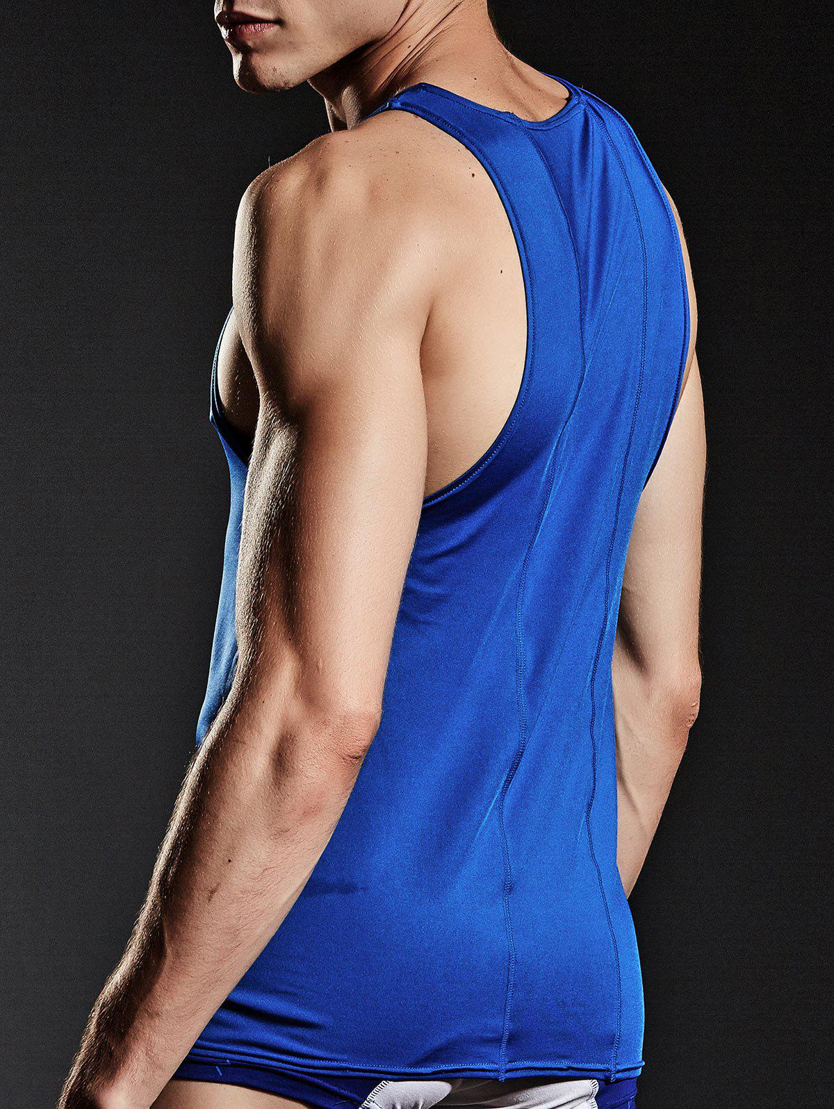 Stretchy Suture Fitted Tank Top - Bleu L