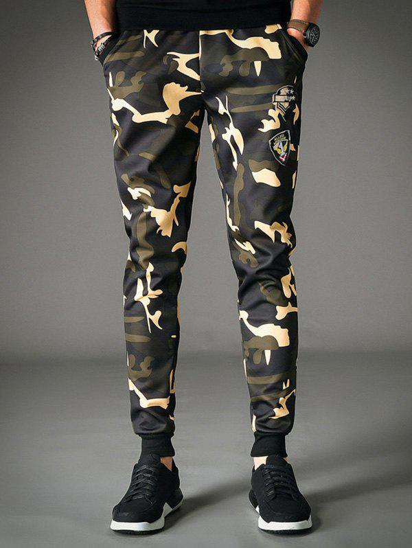 Patched Styling Camo Jogger Pants drawstring spliced camo jogger pants