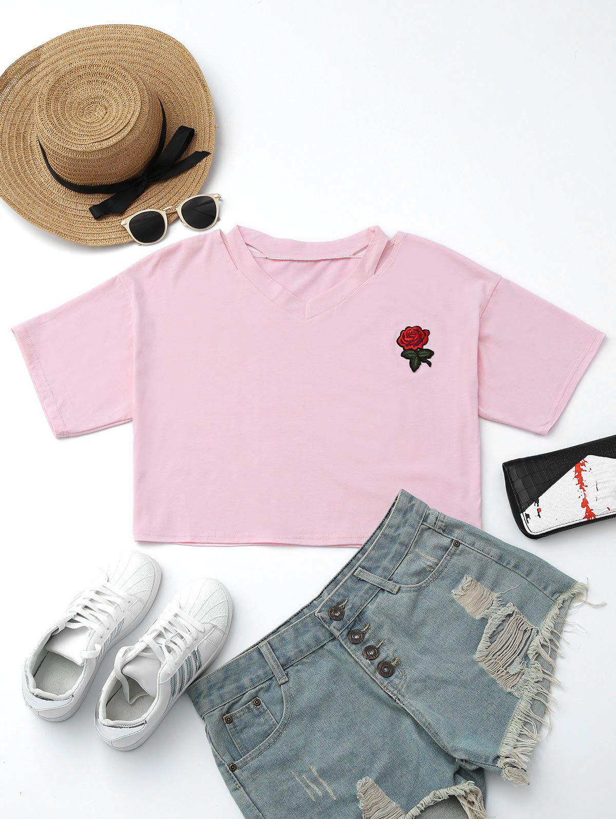 Cut Out Patched Short Top - PINK S