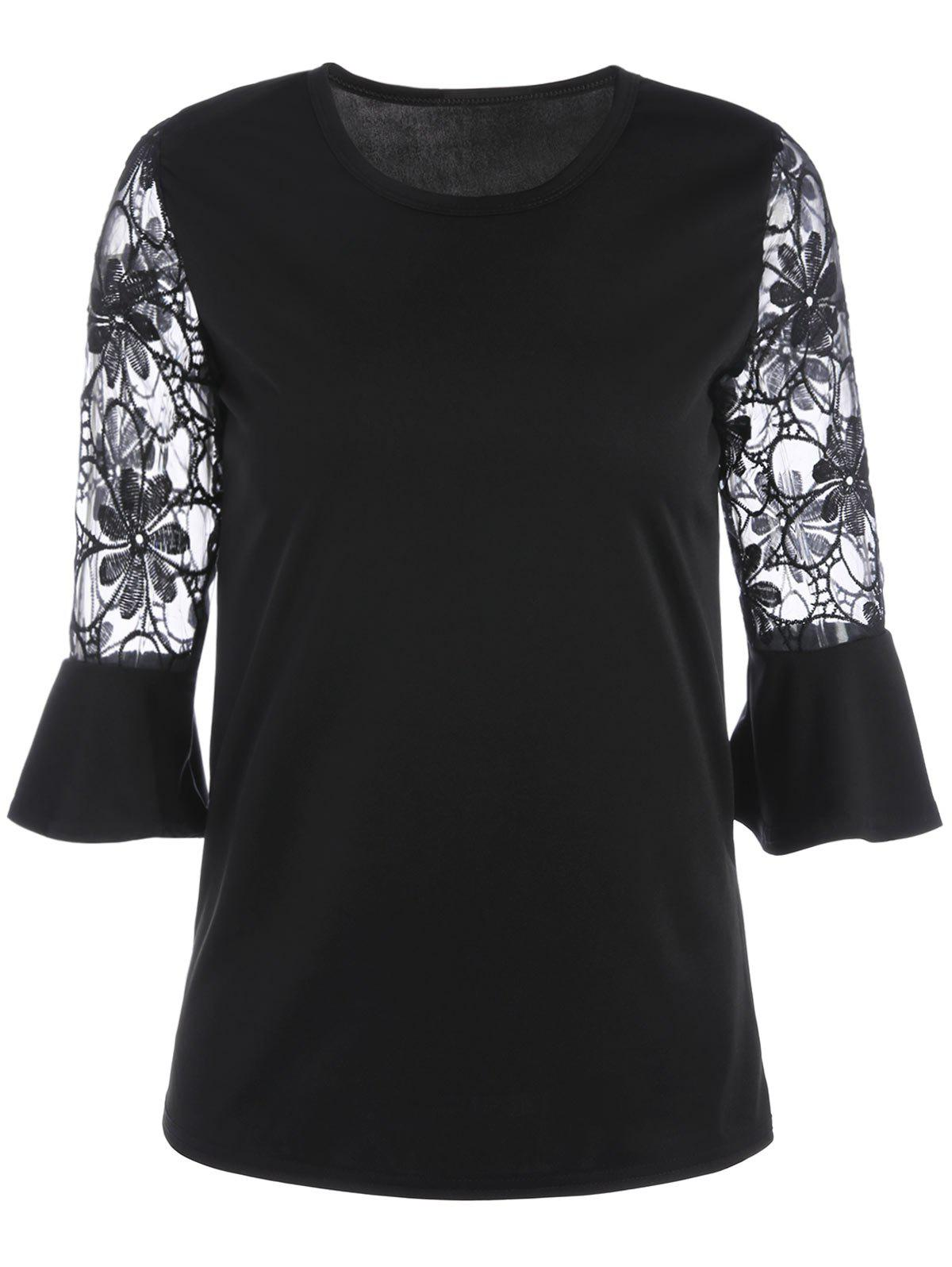 Lace Trim Flare Sleeve Blouse - BLACK L