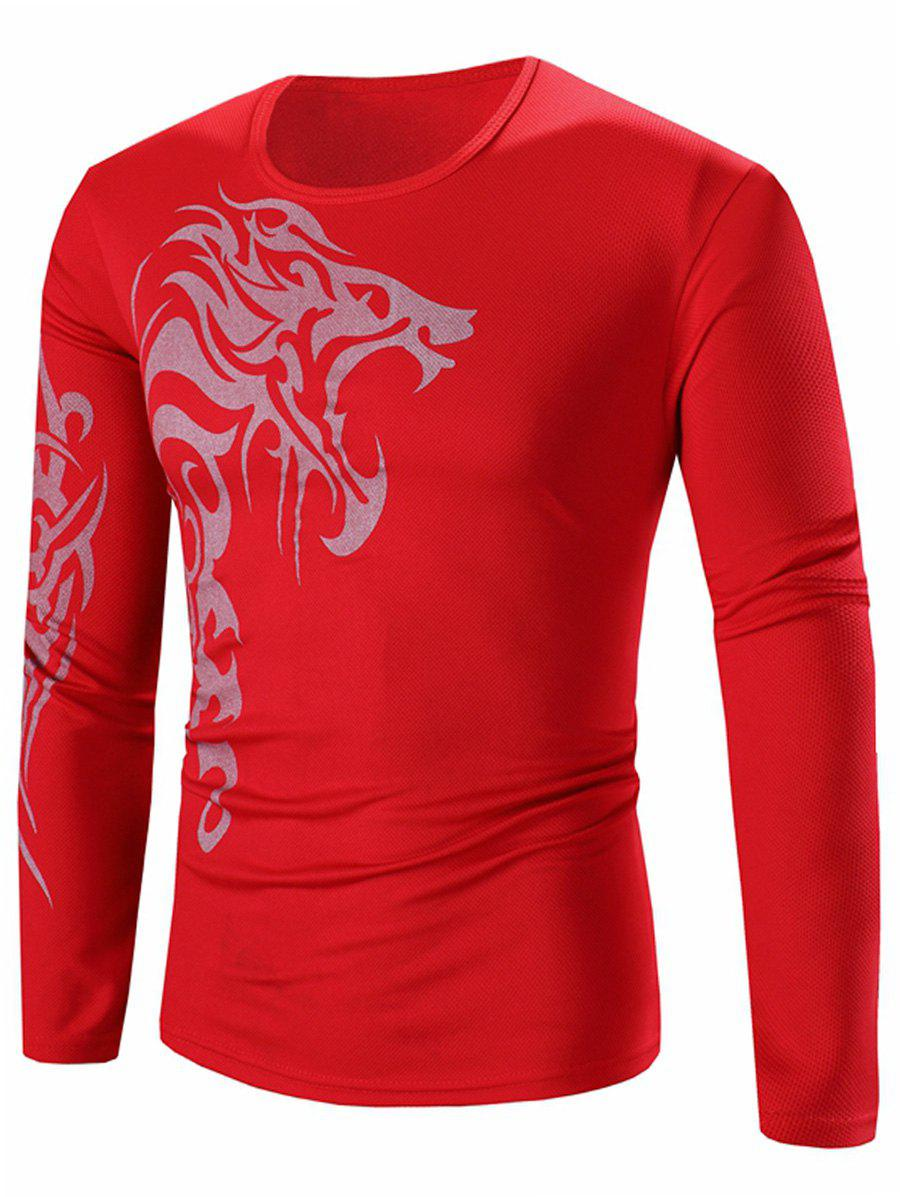 Crew Neck Long Sleeve Stretchy Lion Print T-Shirt - RED 2XL
