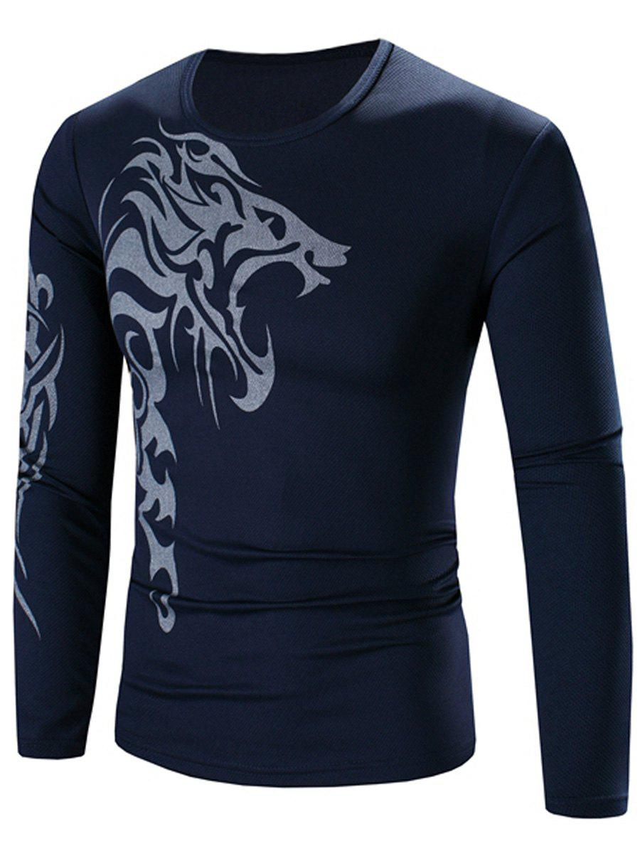 Crew Neck Long Sleeve Stretchy Lion Print T-Shirt - CADETBLUE 3XL