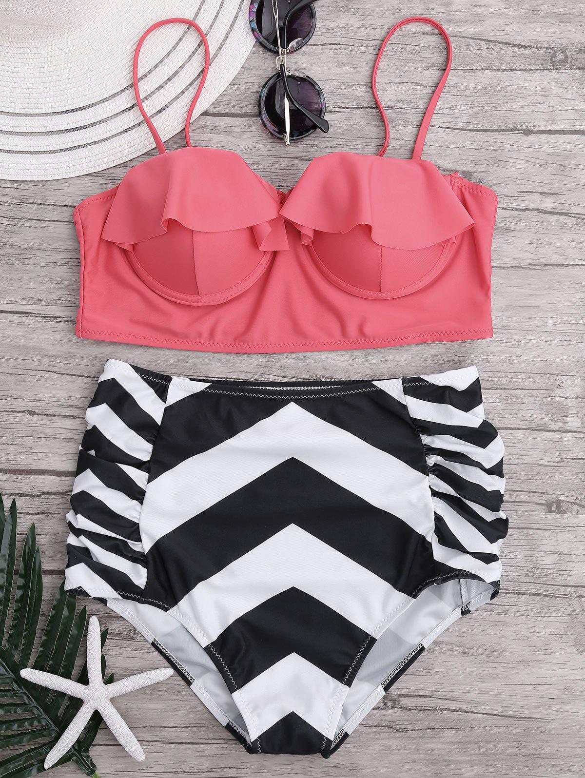High Waisted Ruffled Zigzag Bikini Bikini Set - PINK XL