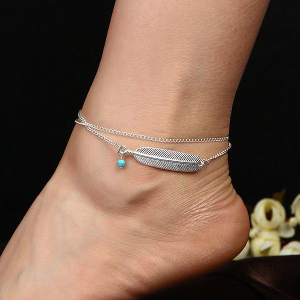 Faux Turquoise Alloy Feather Anklet - SILVER