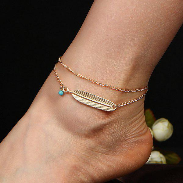 Faux Turquoise Alloy Feather Anklet - Or