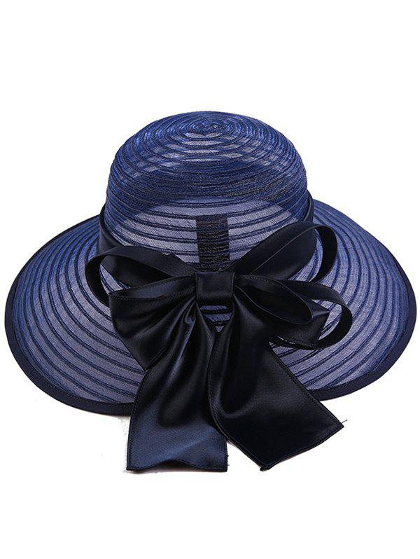 Stripe Ribbon Bowknot Organza Sun Hat - CADETBLUE