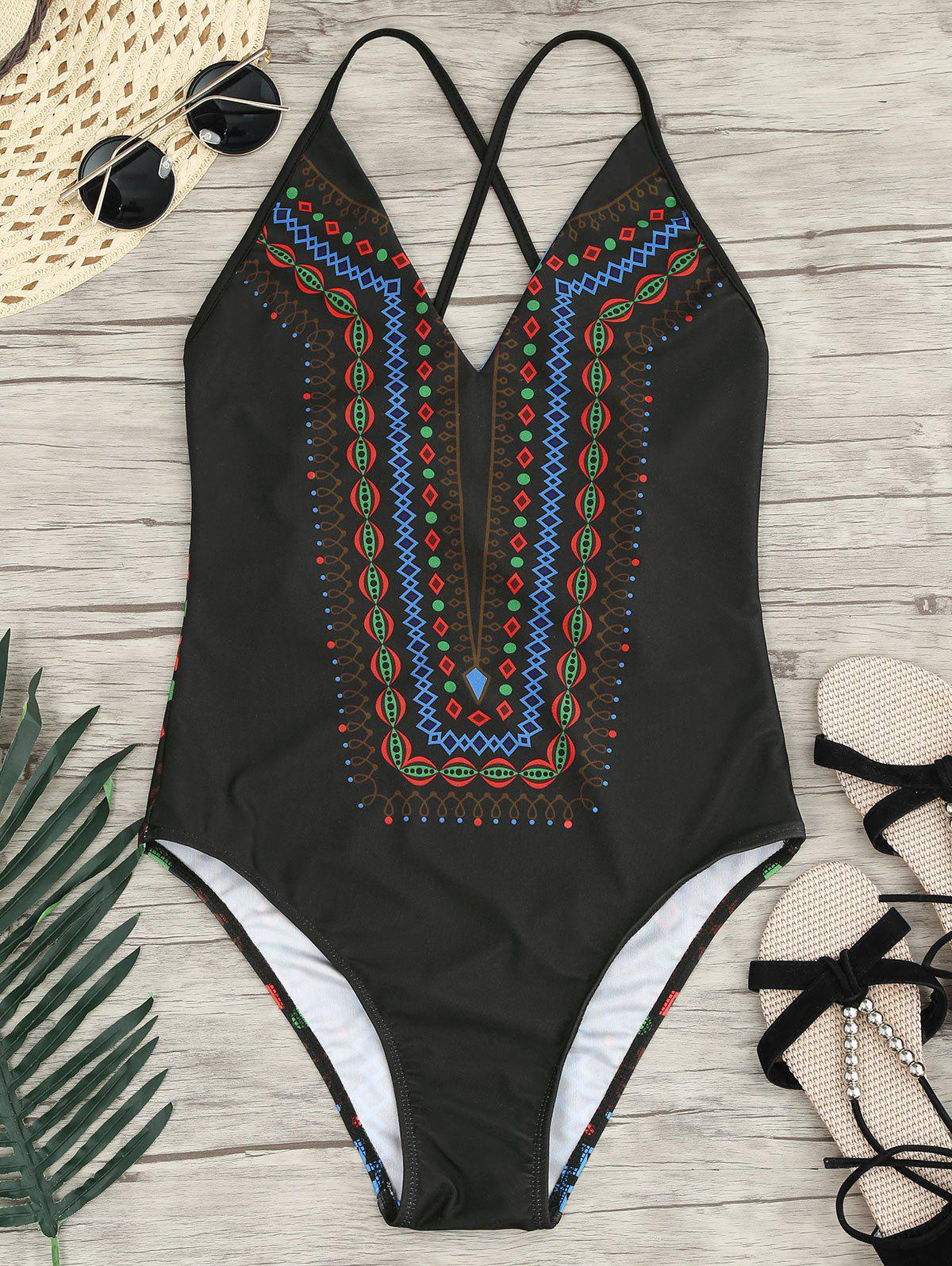 Halter Cross Back One-Piece Bathing Suit - BLACK XL