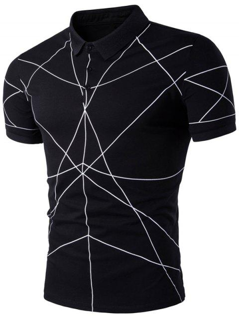 Turndown Collar Linellae Print Polo T-Shirt - BLACK L