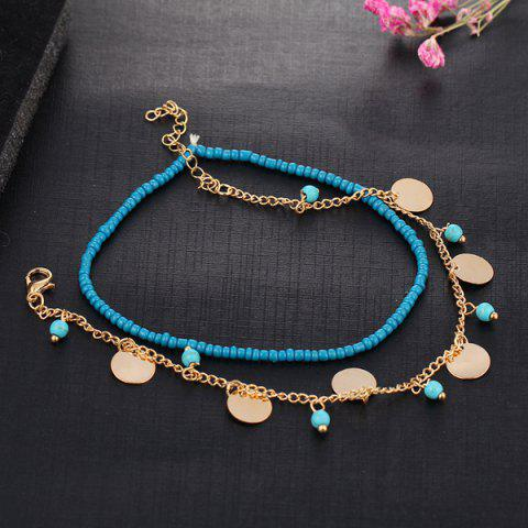 Artificial Turquoise Disc Beaded Charm Anklet Set - GOLDEN