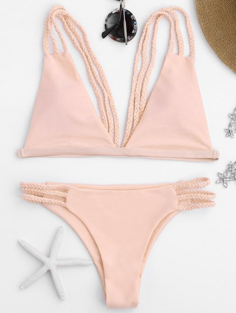 00b057c0dba462 LIMITED OFFER  2019 Padded Low Cut Strappy Bralette Bikini In PINK M ...