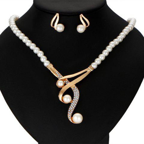 Artificial Pearl Statement Necklace and Earrings - WHITE
