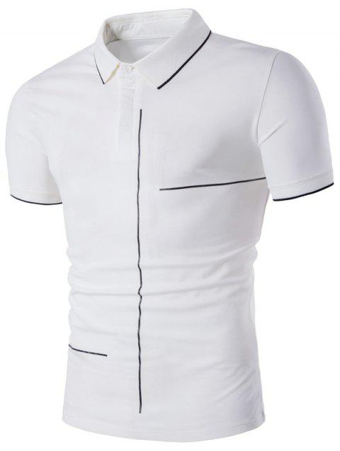 Short Sleeve Linellae Print Polo T-Shirt - WHITE L