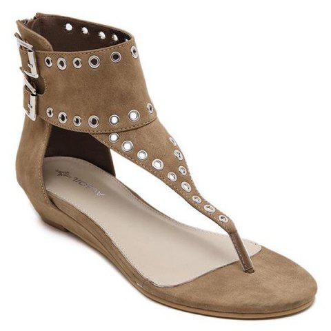 Double Buckle Strap Eyelets Sandals - DARK KHAKI 38