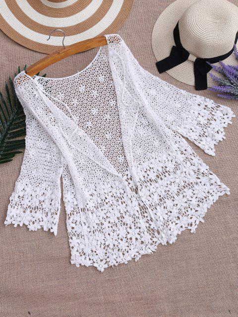 Hollow Out Crochet Kimono Beach Cover Up - WHITE ONE SIZE