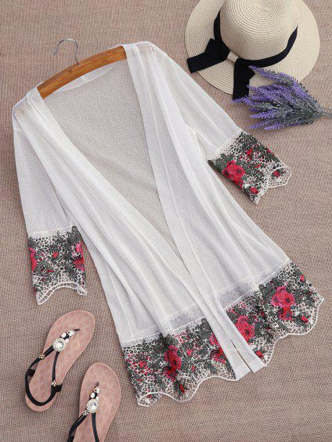 Lace Insert Embroidered Kimono Cover Up - WHITE ONE SIZE