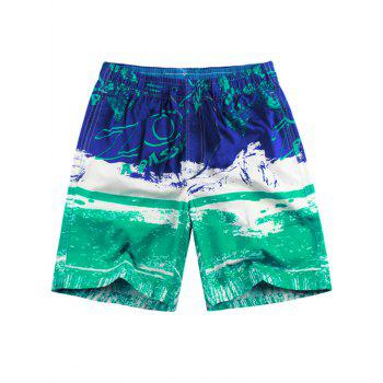 Graphic Pattern Drawstring Board Shorts