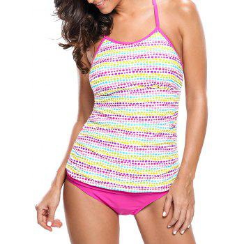 Braided Back Dotted Push Up Tankini Set