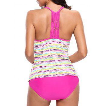 Braided Back Dotted Push Up Tankini Set - COLORMIX COLORMIX