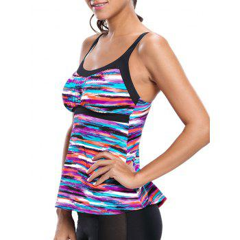 Multi-color Striped Push Up Swim Top - multicolorcolore 2XL