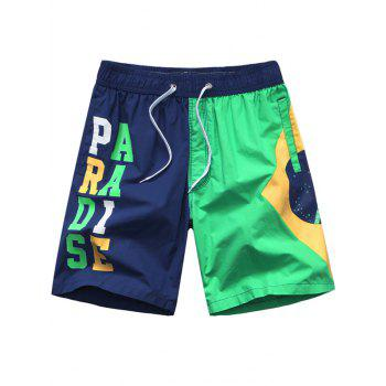 Drawstring Color Splicing Letters Printed Board Shorts