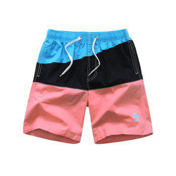 Color Block Sailing Pattern Drawstring Board Short