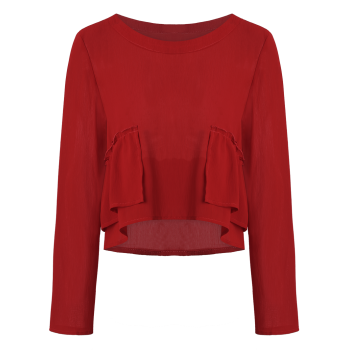 Frilly Peplum Long Sleeve Crop Top - RED RED
