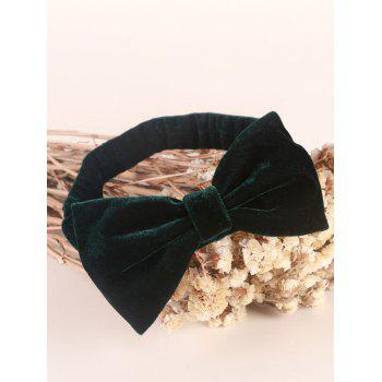 Velvet Bowknot Elastic Plain Hairband -  BLACKISH GREEN