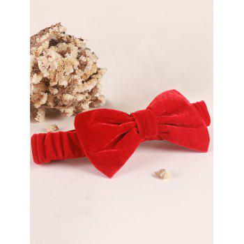 Velvet Bowknot Elastic Plain Hairband - Rouge