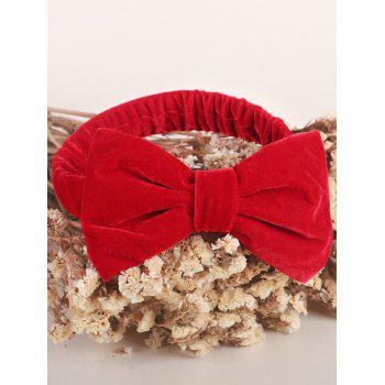 Velvet Bowknot Elastic Plain Hairband - RED RED